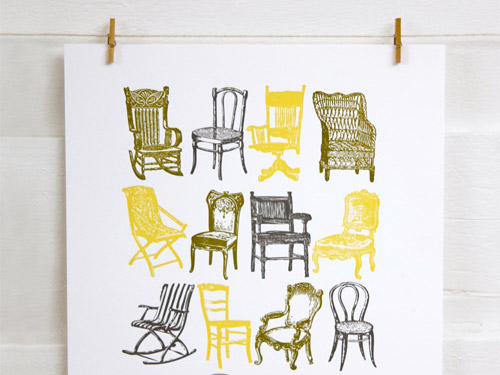 Bespoke Press: Vintage Chairs Poster