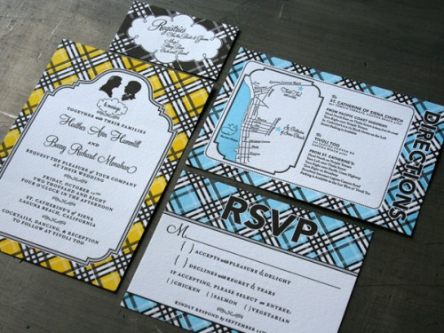Studio On Fire: Plaid Letterpress Wedding Invites